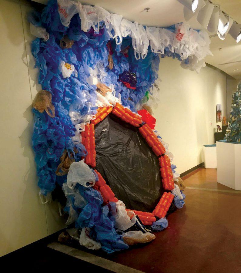 Man Overboard: The first piece featured in Martin's exhibit was made entirely of recycled materials, mainly plastic bags and bottles.