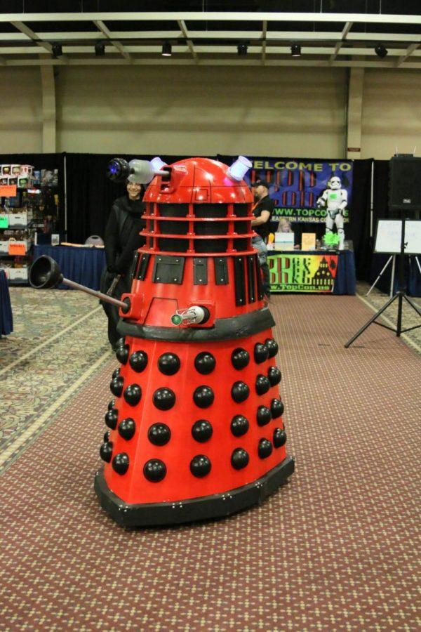 Eric Collins operating his mobile Red Dalek costume at Empower Con.