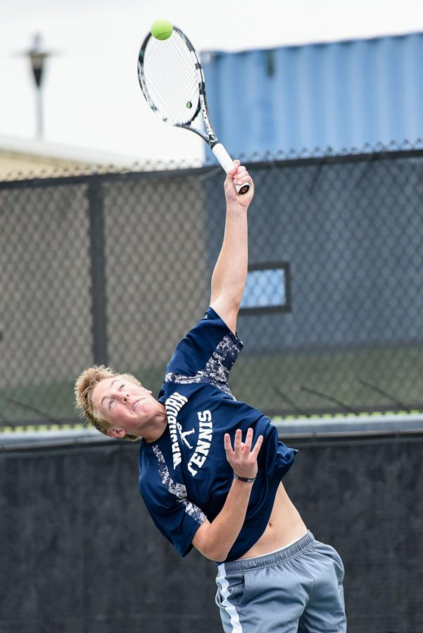 Hunter+Blake+serves+for+the+Ichabods+during+the+doubles+match.