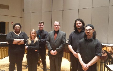 From left to right, Dulce Cortes, Shannon Brush, Jarod Barnes, Dr. Tom Morgan, Will Hartner, and Nico Williams. The group is mainly comprised of music and mass media majors.
