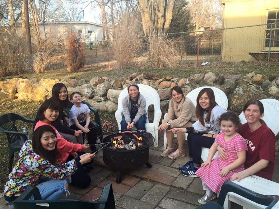 Host Family Weekend: Some visiting Japanese students from Fukuoka University visit their host family during the weekend and made s'mores.