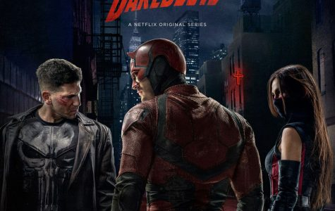 (Left to right) The Punisher, Daredevil and Elektra cooking up disaster in Hell's Kitchen. This is the first time all three characters have appeared in the same live action adaptation.