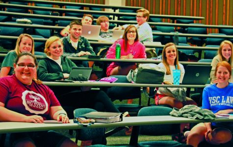 Pathophysiology students sitting, ready for the lecture to begin. Many of these students were recently accepted into the school of nursing for the fall and will be the last to take this course prior to entering the program.