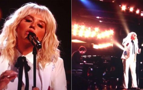 """Honoring Bob Dylan: 29-year-old Pop star Kesha, widely known for her hits such as """"Tik Tok"""" and """"We R Who We R"""" and an affinity for glitter, hit another wall in her legal battle with music producer Lukasz """"Dr. Luke"""" Gottwald. She wore a white pantsuit during her moving performance."""