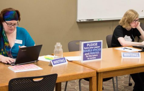 Power in Numbers: Krista Kubie and Kody Stadler working at the Tutoring and Writing Center in Mabee Library. Kubie and Stadler provided writing services to students throughout the semester.