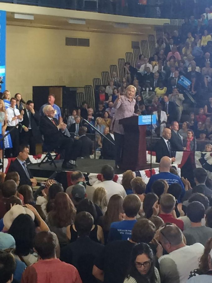 Democratic presidential nominee, Hillary Clinton, rallies in midwest at Omaha North High School in Omaha, Nebraska.