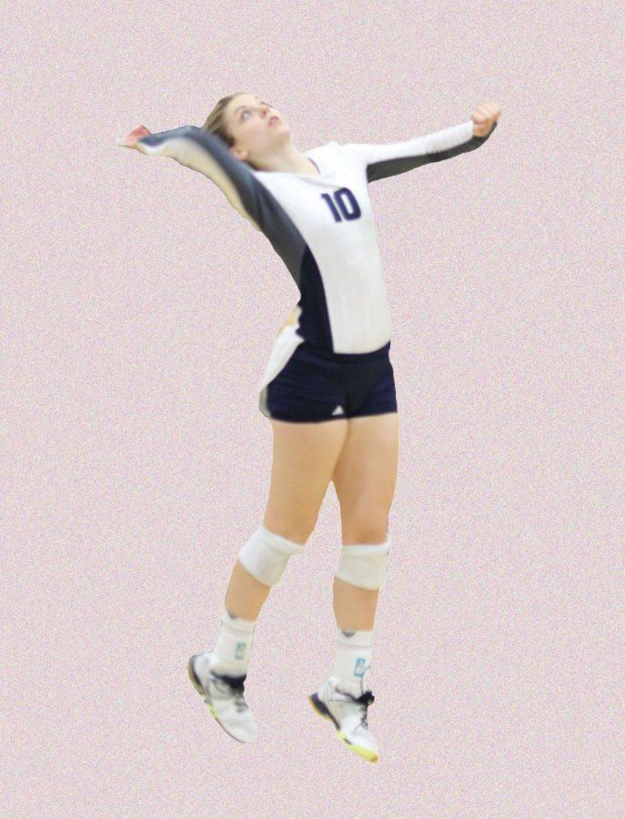 Alyssa+Carney+digs+the+ball+up+for+the+setter+at+the+Nebraska-Kearney+game+on+Friday.