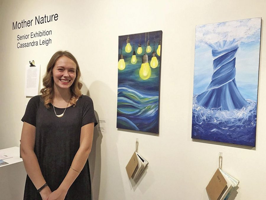 Nurtured%3A+Cassie+Leigh+remains+all+smiles+during+her+senior+exhibition+%E2%80%9CMother+Nature.%E2%80%9D+Both+displayed+pieces+are+a+part+of+Leigh%E2%80%99s+seven+part+acrylic+series+entitled+%E2%80%9CEnvisioning+Creation.%E2%80%9D