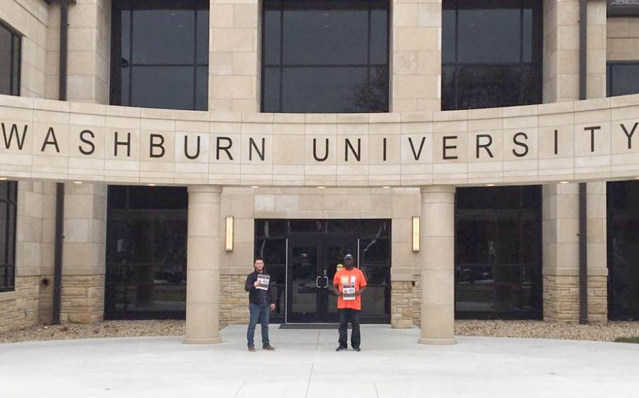 Nate Zeff and Anthony Jackson, both representatives of the Nabisco 600, visiting Washburn University to raise awareness for their boycott against Nabisco. Nabisco laid off hundreds of workers after downsizing their Chicago bakery.