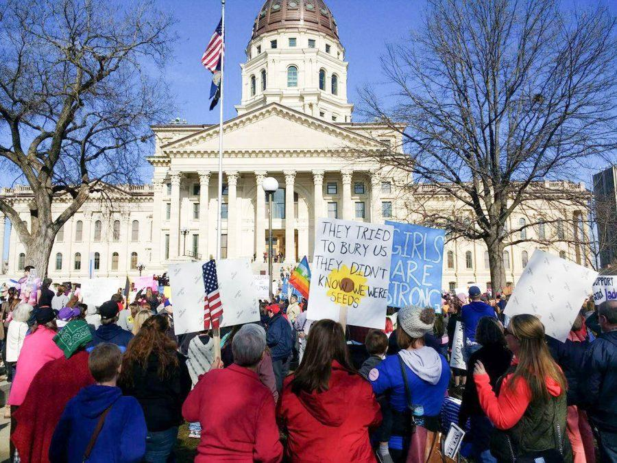 Thousands of protestors gather at Topeka's Capital building for the women's march.
