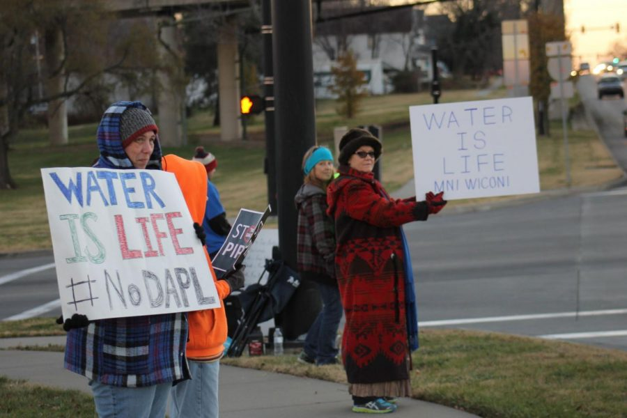 Local Stand: Topeka residents stand in solidarity with Standing Rock water protectors.