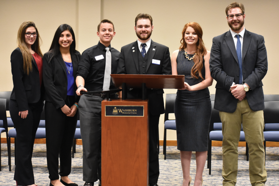 (From left to right) Victoria Toothaker, Sarah Ariaga, Jim Henry, Zac Surritt, Alexis Simmons and Scott Weinkauf. The candidates announced their campaigns after the WSGA Full Senate Meeting Feb. 15.