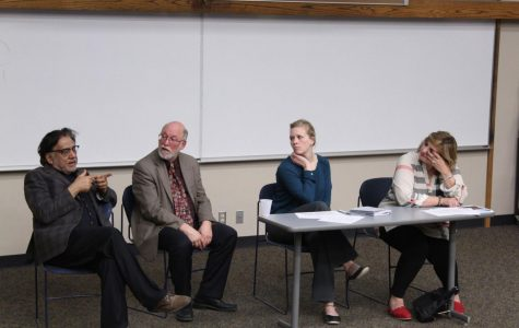 Speaking on Syria: Professor of law Ali Khan (left), history chair Tom Prasch, assistant professor of political science Linsey Moddelmog and associate professor of social work Bassima Schbley discuss the Syrian civil war.