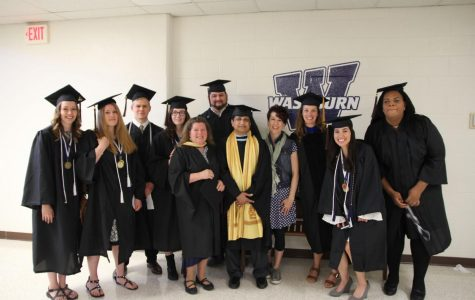 Fine arts students, Amber Coultis, Ryan Johnson, Shawn Rooks, Christina Lynn Garcia, Megan Barnes and Cassandra Leigh await commencement with art faculty, Marguerite Perret,  Azyz Sharafy, Kelly Watt and Monette Mark.