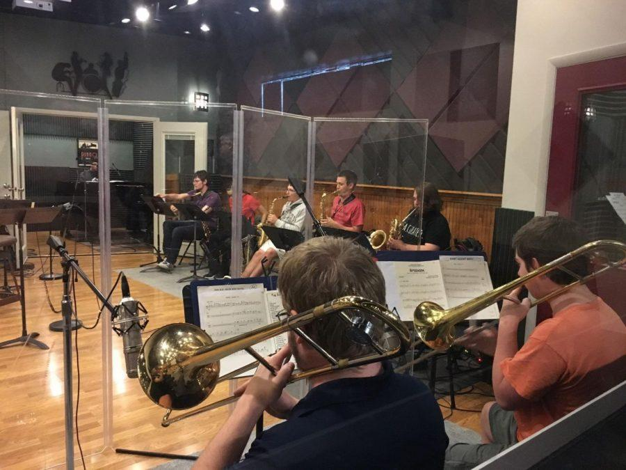 WU+Jazz+Orchestra+students+warm+up+before+their+second+day+of+recording+at+BRC+Audio+Productions.%C2%A0