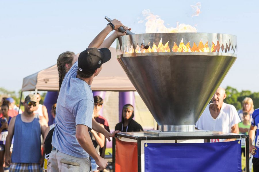The cauldron was lighted at Sunflower State Games' Cauldron Fest that is held in conjunction with the 5K/10K.