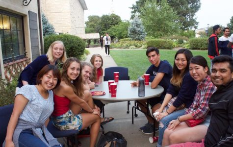 United: American and international students enjoy the potluck together.
