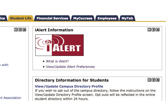 To update iAlert preferences go to your myWashburn account click on the student life tab. The link is located below.