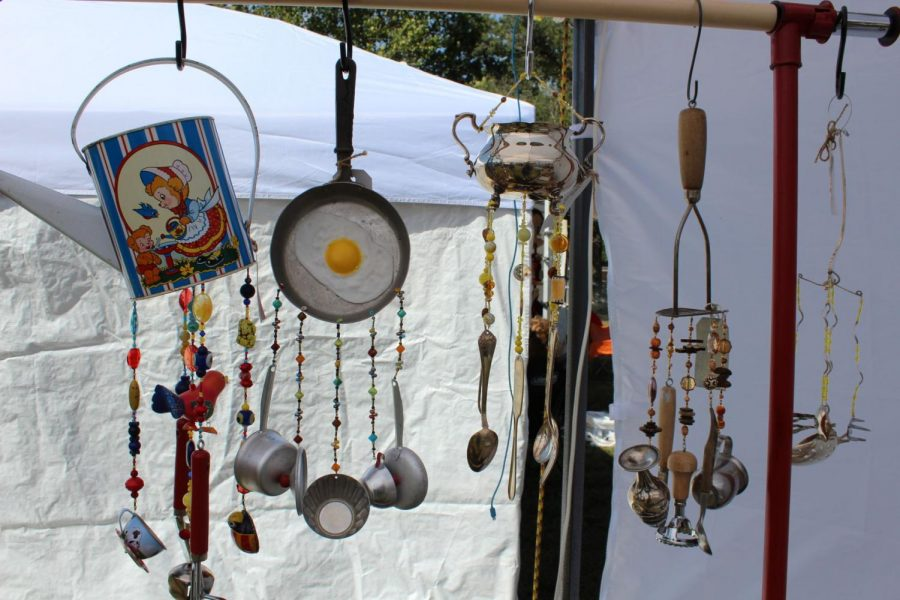 Unique wind chimes created by Kathleen Hayward