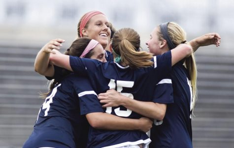 The Ichabods celebrate after their second goal scored by #15 Kelsi Smith.