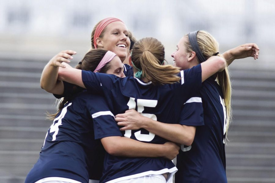 The+Ichabods+celebrate+after+their+second+goal+scored+by+%2315+Kelsi+Smith.
