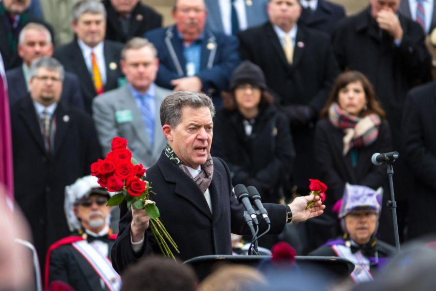 Brownback speaks at the 2018 Kansas Rally for Life on the steps of the Capitol. The rally was one of the final events Brownback attended as governor of Kansas.