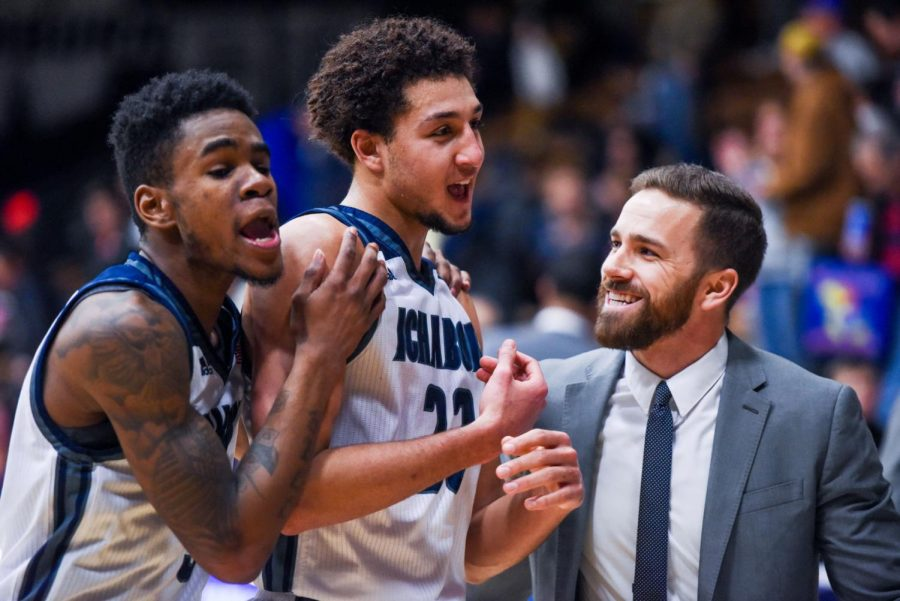 Javion+Blake%2C+Brady+Skeens%2C+and+Assistant+Coach+Joe+Balestrieri+celebrate+as+they+leave+the+court+after+the+victory+against+Central+Oklahoma+on+Saturday%2C+Jan.+13+at+Lee+Arena.