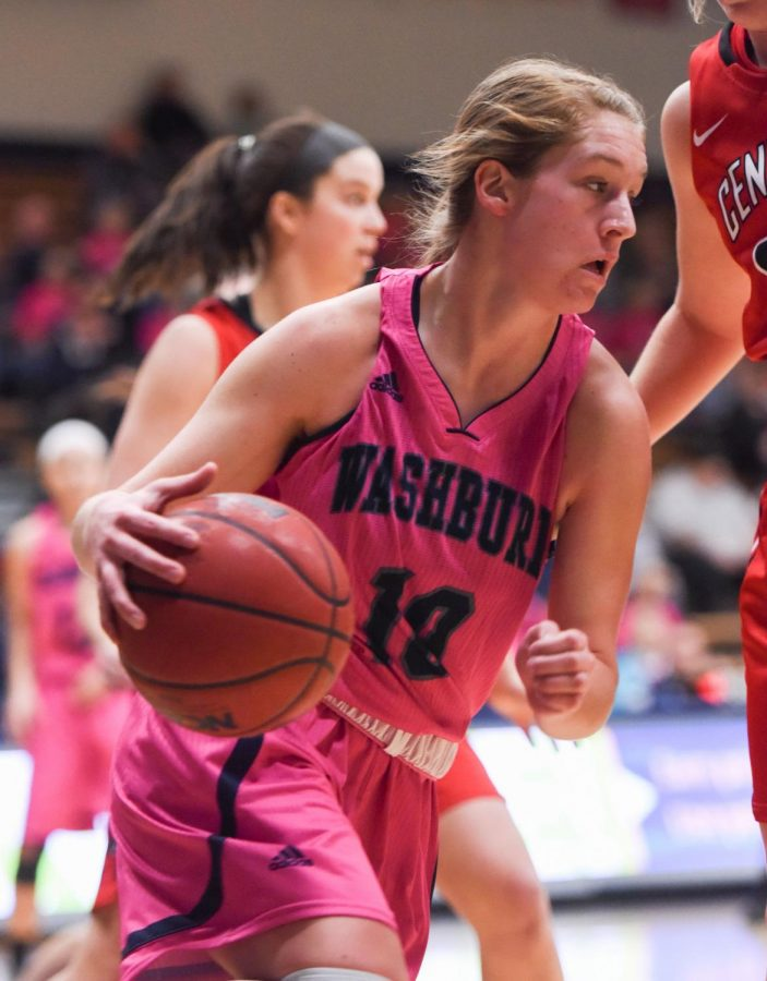 Washburn guard Macey Langvardt rebounds the ball for the Ichabods against Central Missouri on Saturday, Jan. 27 at Lee Arena.