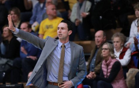 Brett Ballard instructs his team from the sidelines as they face Missouri Western State University Wednesday, Feb. 7 at Lee Arena.