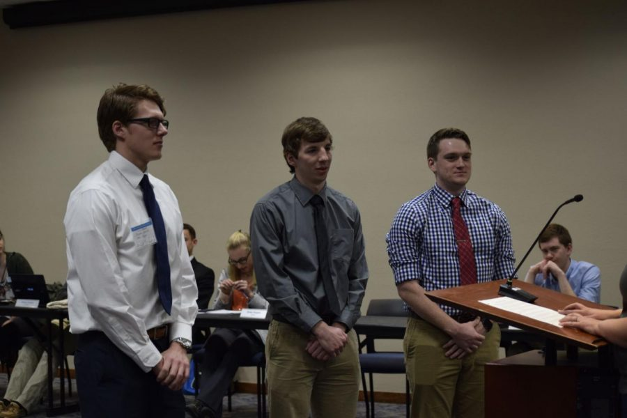 New WSGA senators Brycen Gulick, Gavin Steinhoff and Trace Tobin are sworn in during the Feb. 7 meeting.