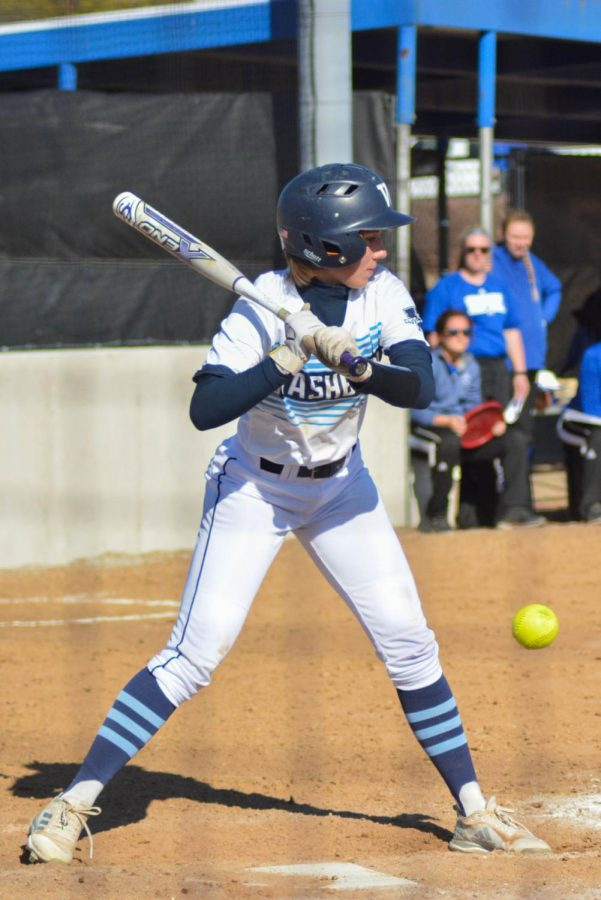 Ready stance: Junior, Emilee Baker watches a ball go by against an MIAA opponent at the Washburn Softball Complex