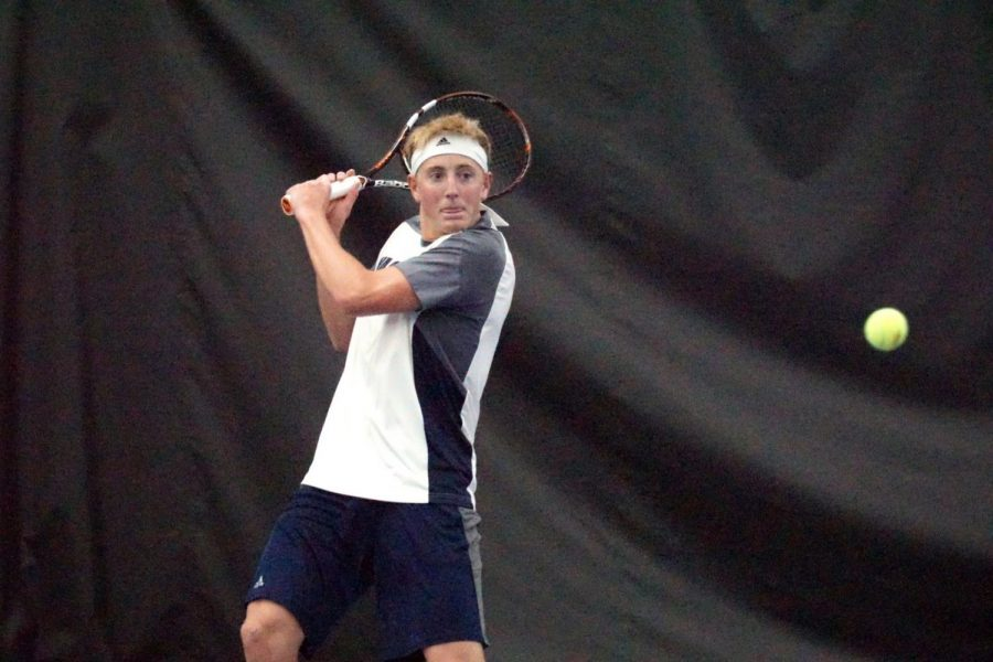 Battling+the+Bearcats%3A+Senior%2C+Blake+Hunter+won+his+singles+match+against+Rahul+Manoah+in+the+dual+against+Northwest+Missouri+State.%C2%A0