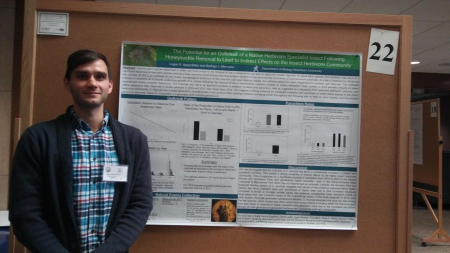 Causation and Invasion: Logan Appenfeller, senior biology major, talks people through his research. His environmental research on the effects of the removal of certain plants hit close to home, since the areas he sampled were all in the Topeka area.
