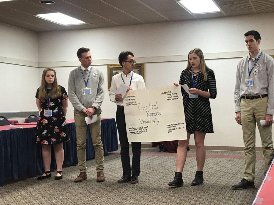 Students from Emporia High School explain how a more involved community are part of a solution to stopping hazing incidents. Emporia presented as the student government solving a hazing problem at the fictional Central Kansas University.