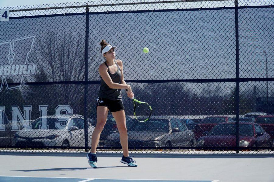Sophomore Jacqueline Engelbrecht fights against the Hornets during her singles match April 5.