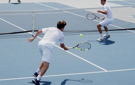 Sophomore Tommy Hunter and freshman Raul-Alin Dicu won their doubles match against William Woods 8-5.