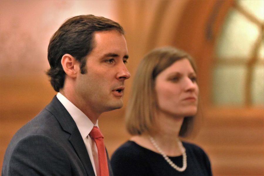 Josh Svaty, Democrat gubernatorial candidate, stands adjacent to his new running mate, Katrina Lewison.