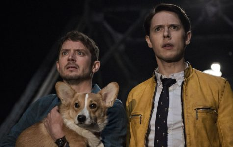 CluelessTodd (Elijah Wood) and Dirk (Samuel Barnett) negotiate with a suspect in a kidnapping case. The series, which cherry-picks details from the original books in order to create a series-long mystery, streams on Hulu.
