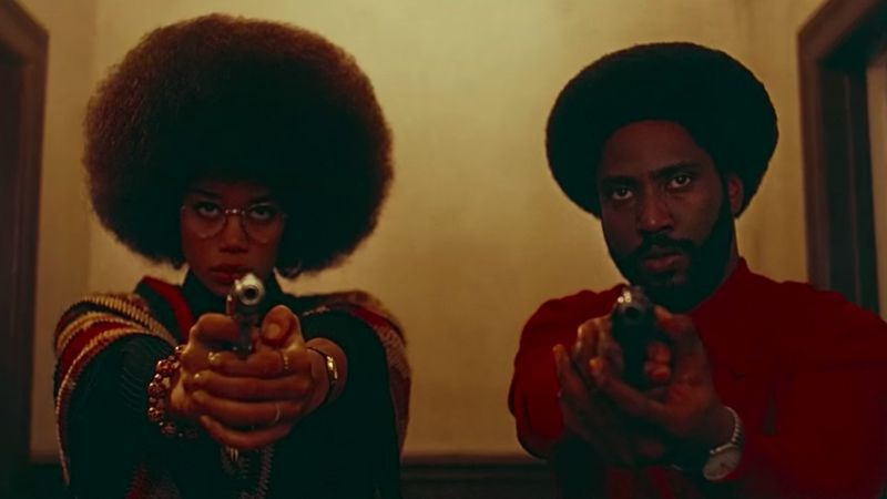 Laura Harrier and John David Washington in 'BlacKkKlansman'