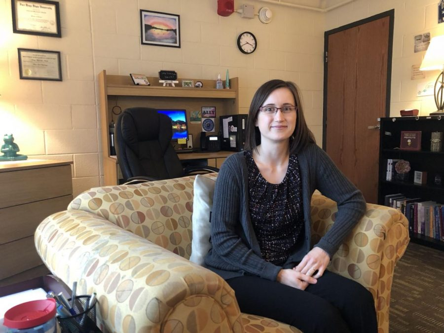 Emily Meyerhoffer-Kubalik, a university counselor, helps with student mental health issues. She sat in her office in counseling services after talking to one client.