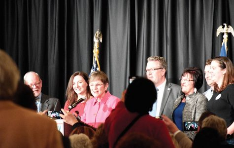 Kelly for the win: Laura Kelly greets her supporters after winning the governor's race at the Downtown Ramada Inn Topeka. Kelly defeated Republican candidate Kris Kobach in a hotly contested election.