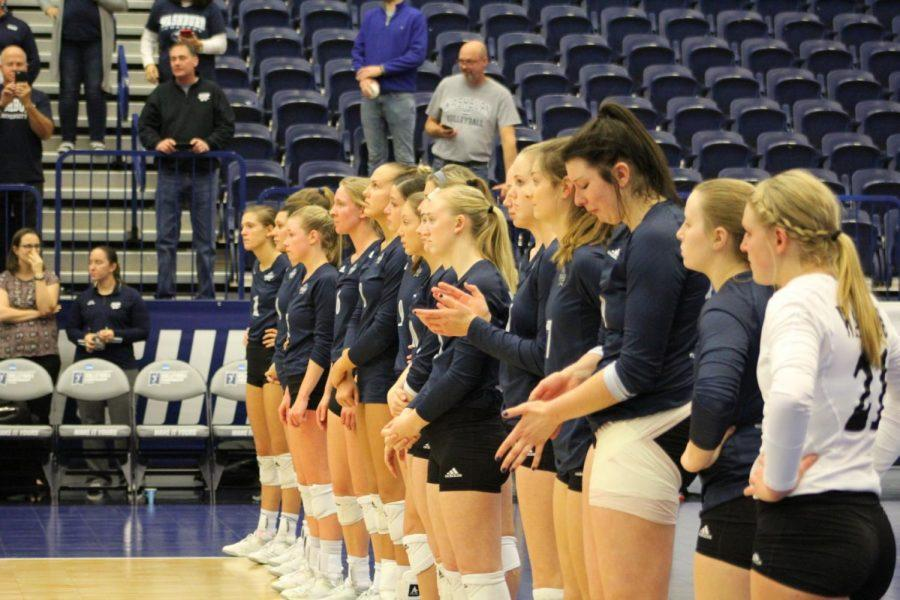 Postgame: The Washburn volleyball team stands at the end line preparing to receive their Final Four trophy's. Washburn finished the season 33-5, its best record since 2007.