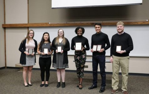 Final six: (From left to right)The finalists for the Fall 2018 Nall Speak Off Competition include Gabrielle Eitutis, Courtney Diec, Julia Kofoid, Amira Linson, Omar Morales and Jacob Andrews. Amira Linson won first place at the competition.