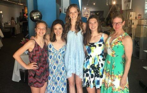 Skyler Sanders celebrates her high school graduation with members of her family: (L-R) Zoe (sister), Jenny (aunt), Skyler, Mattie (sister), and Sue (mom). Sanders broke the school high jump record in her first collegiate meet.