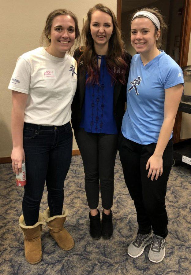 Leaders: Abby Price (left), Claire Leffingwell (center), Emma Wetzel (right) host a successful leadership meeting. The trio had the meeting in the upper level of Memorial Union Thursday, Jan. 24.