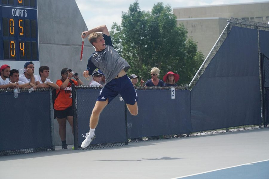 Winner winner: Junior Paul Haase shows off his athleticism after striking the ball. Haas has been a key component to the Ichabod tennis team during his time here.