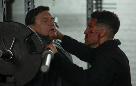 Without Remorse:Cancellation imminent, 'The Punisher' is still well worth watching and my favorite section of the Marvel umbrella. Pictured is Jon Bernthal as Frank Castle, using a barbell for unintended purposes on Russian goon Kazan (Illia Volok).