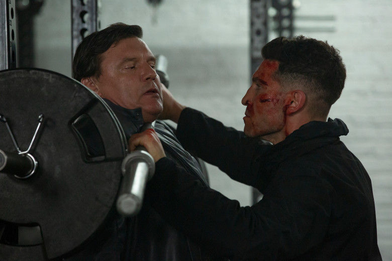Without Remorse: Cancellation imminent, 'The Punisher' is still well worth watching and my favorite section of the Marvel umbrella. Pictured is Jon Bernthal as Frank Castle, using a barbell for unintended purposes on Russian goon Kazan (Illia Volok).