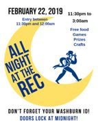 Pulling an all-nighter: The Student Recreation and Wellness Center is holding their All Night at the Rec event on Friday, Feb. 22 from midnight to 3 a.m. Students need to bring their Washburn IDs for entrance into the event.