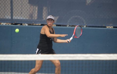 Focused Forehand:Senior Alexis Czapinski prepares to swing through a forehand shot. Czapinski's season has begun with her and her doubles partner, Logan Morrissey, ranked sixth in D2 in doubles competition.